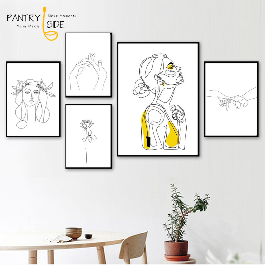 Abstract Women Line Canvas Wall Art