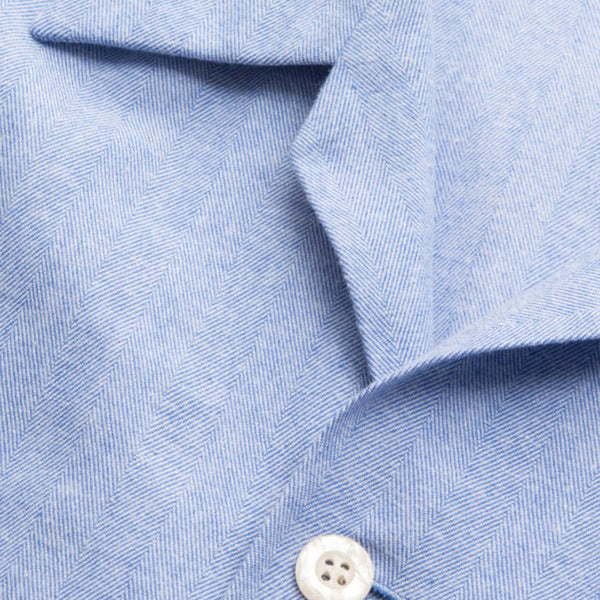 Arran 24 Blue Herringbone Brushed Cotton Classic Fit Pyjamas