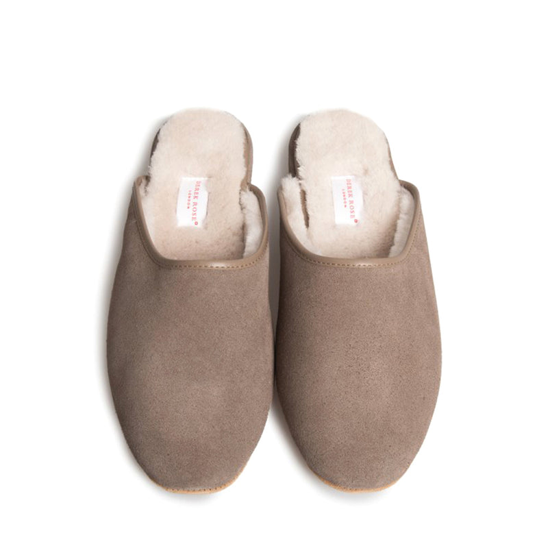 Douglas Beige Suede Sheepskin Open-Back Slipper