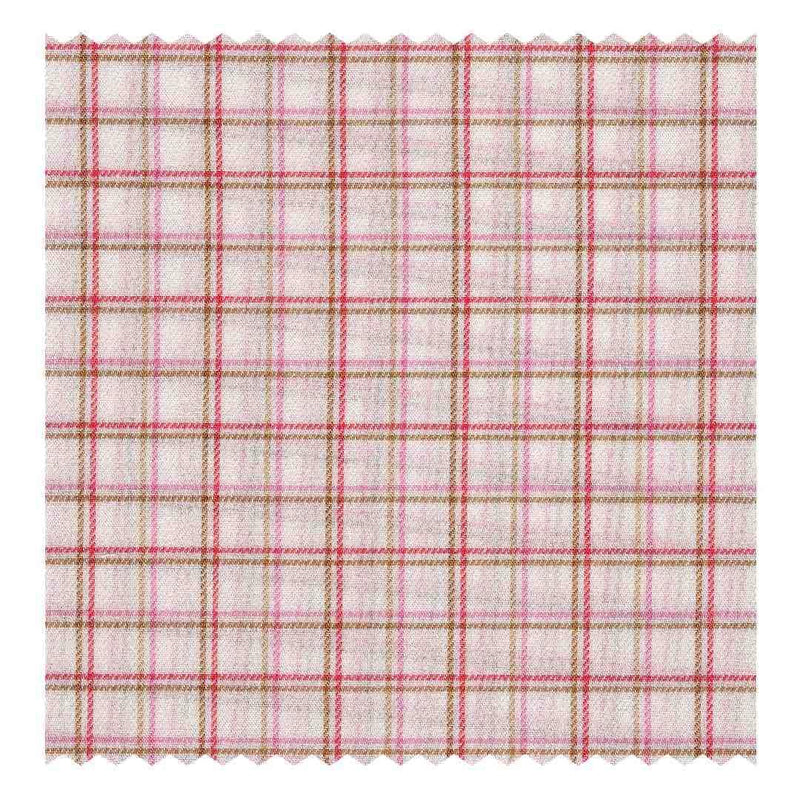 Red, Pink & Brown Fancy Check Fine-Twill (2 Fold 80's)