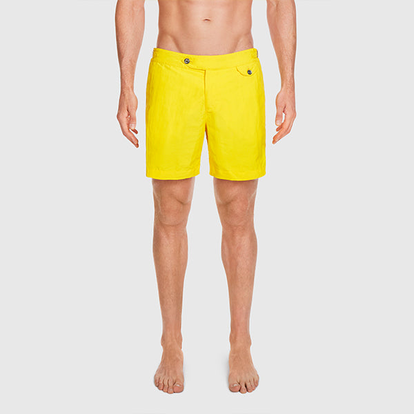 Yellow Solid Clipper Swim Shorts
