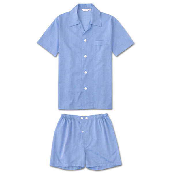 Amalfi Blue Cotton Batiste Short Pyjamas