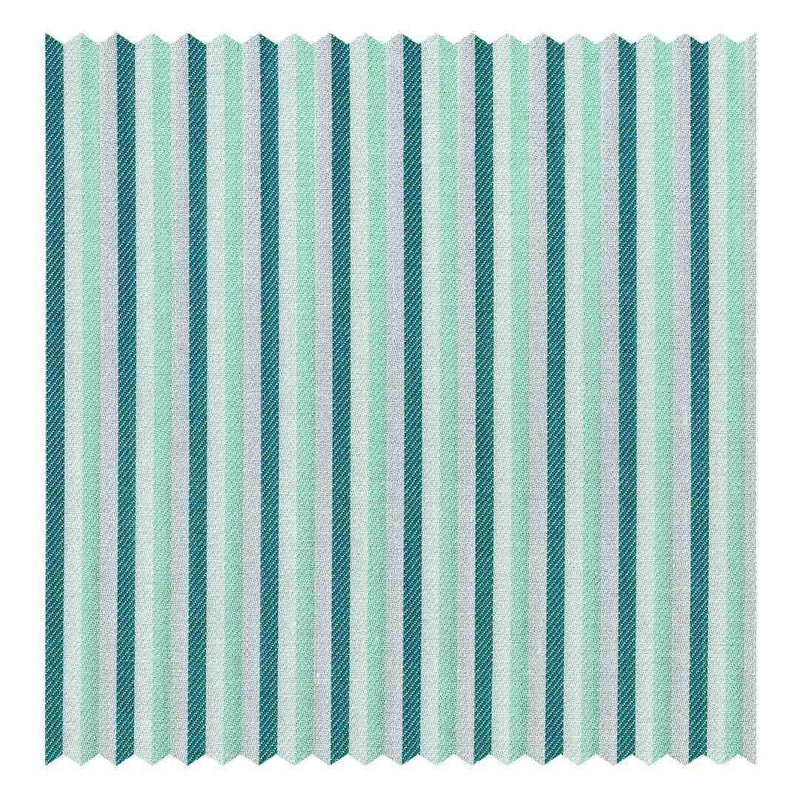 Green & Mint Multicolour Bengal-Stripe Fine Twill (2 Fold 80's)