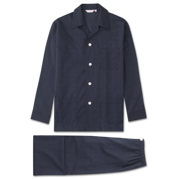Plaza 21 Navy Polka Cotton Batiste Classic Fit Pyjamas