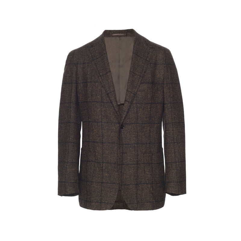 Dark Brown Glen Plaid Unstructured Baby Alpaca Sport Coat