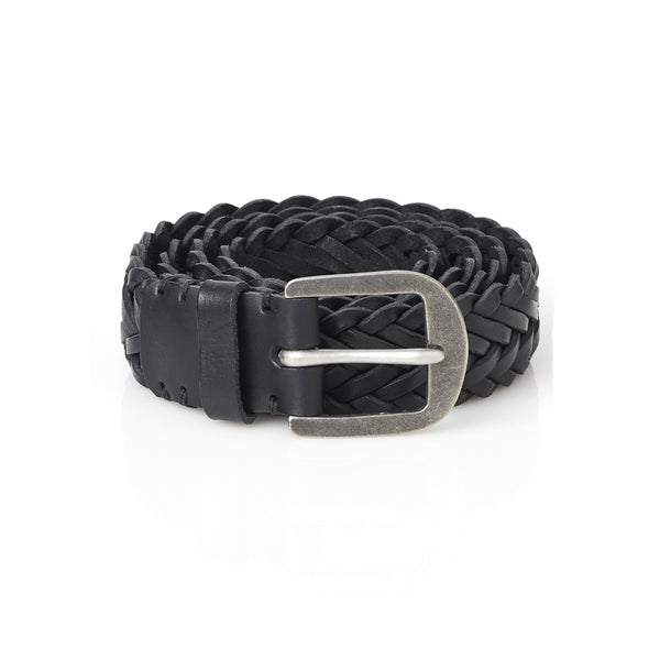 Braided Belt in Pitch Black with Pewter