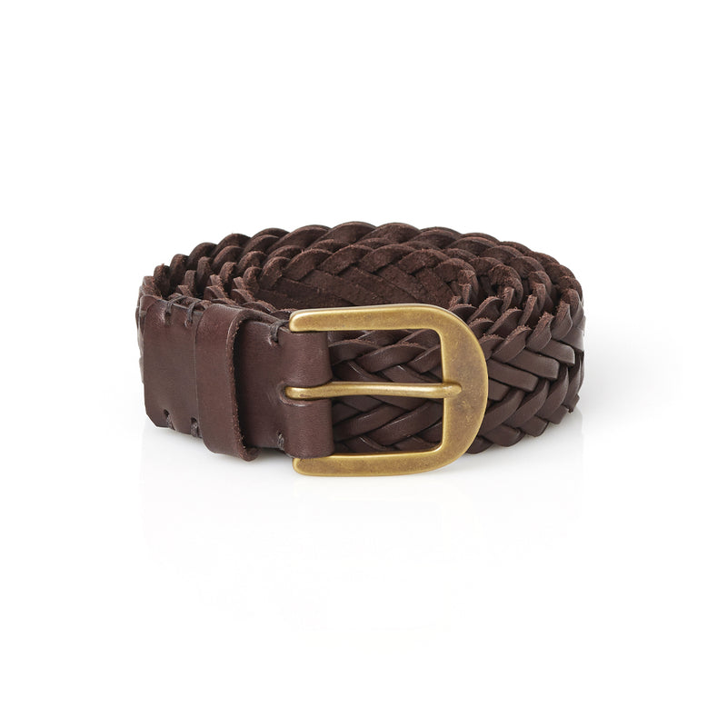 Braided Belt in Walnut Brown with Brass