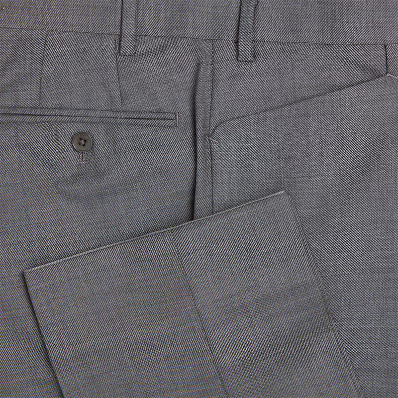 Mid-Grey Sharkskin Three Button Conduit Cut Suit