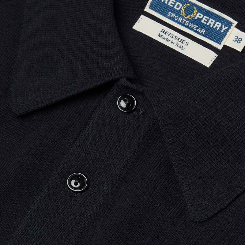 Navy Raglan Knitted Polo Shirt