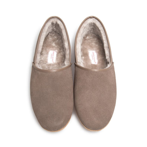 Crawford Beige Suede Sheepskin Closed-Back Slipper