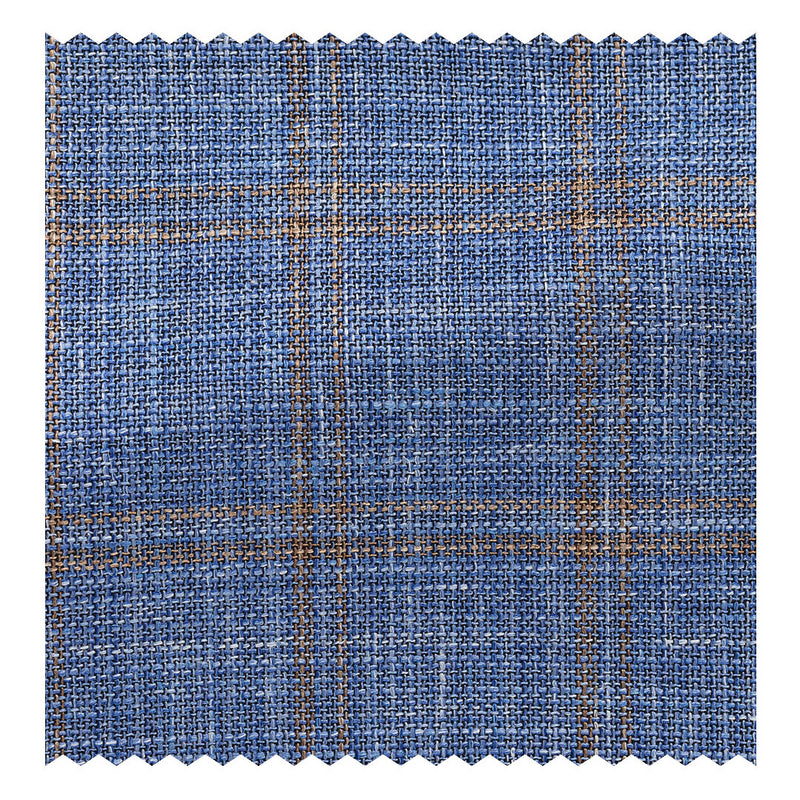 Blue with Apricot Wool/Silk/Linen Check