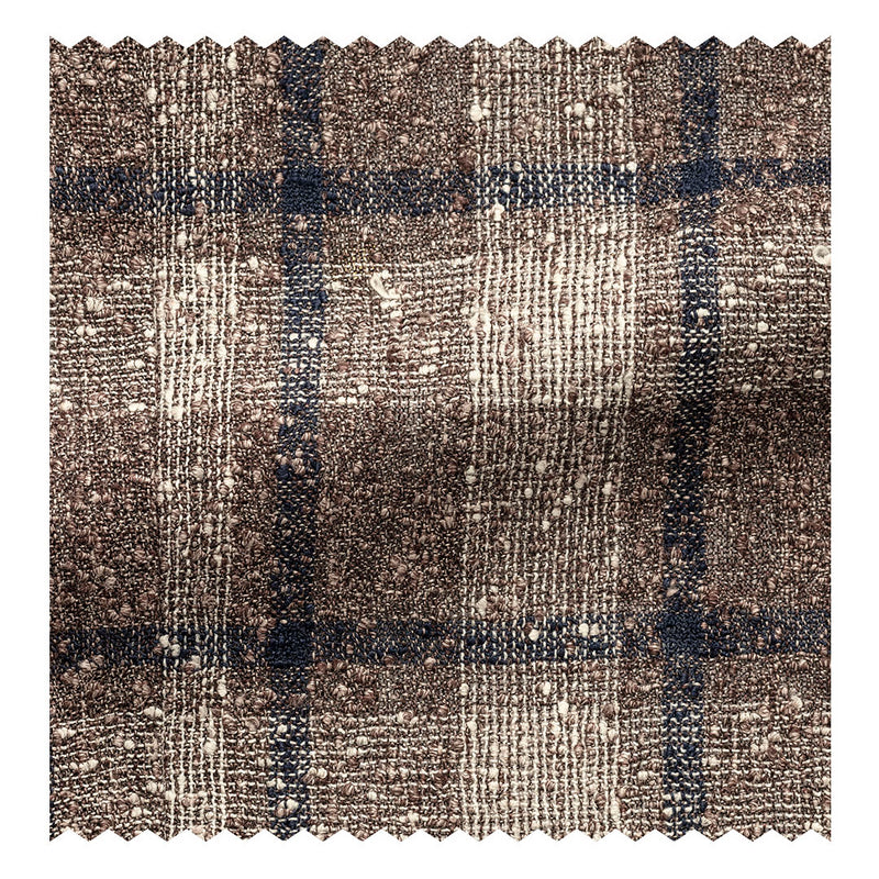 Taupe & Ivory with Navy Slubbed Linen Glen Plaid