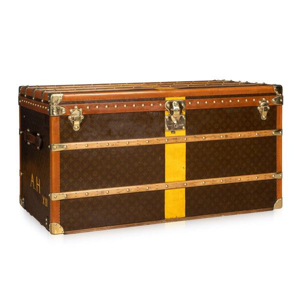 Antique Louis Vuitton Courier Trunk In Monogram Canvas, Paris C.1930