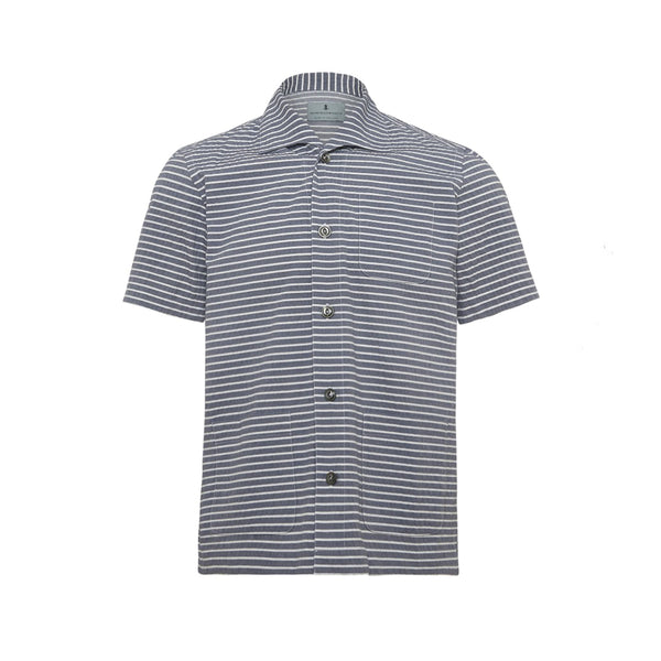 Navy White Seersucker Stripe Cabana Shirt