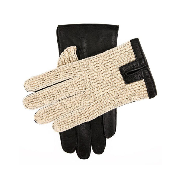 Black Crochet Back Driving Gloves