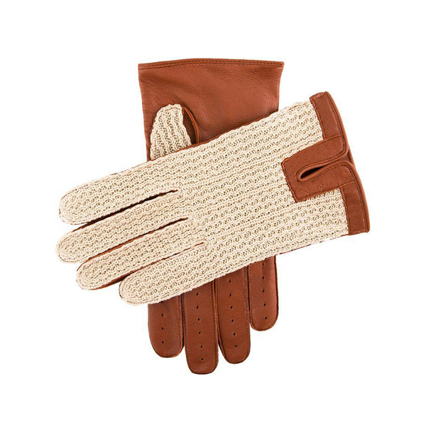 Cognac Crochet Back Driving Gloves
