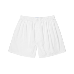 White Cotton Poplin Boxer Shorts