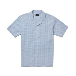 Sky Blue Gingham Seersucker Check Camp Collar Shirt