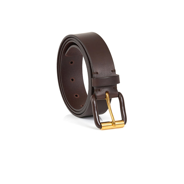 Modernist Exposed Belt in Chocolate Brown with Brown