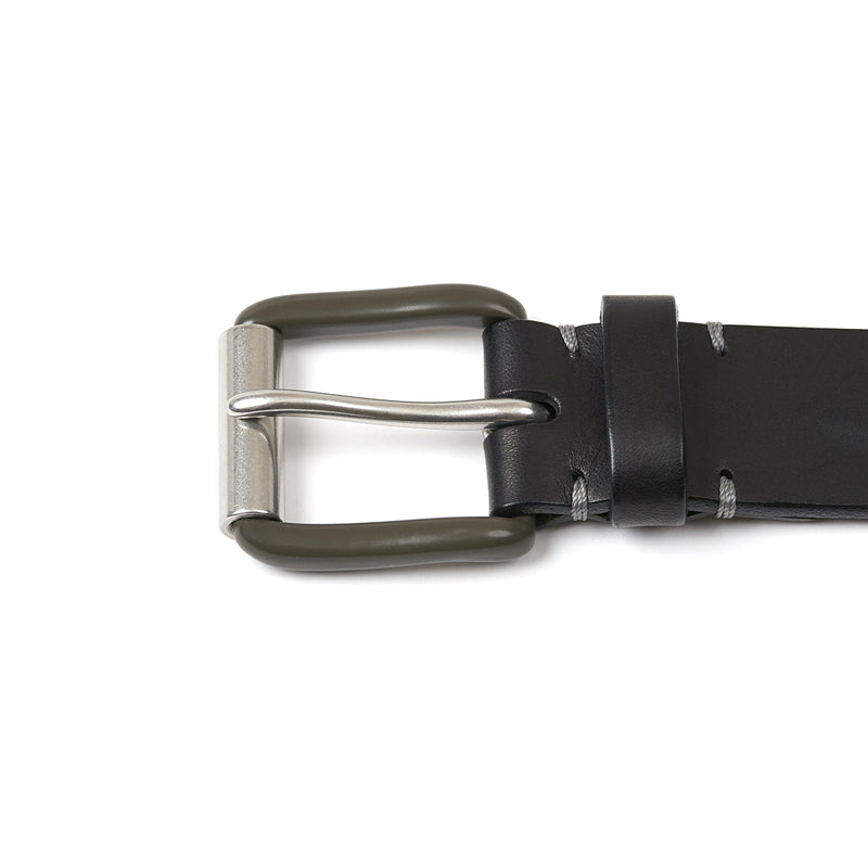 Modernist Exposed Belt in Pitch Black with Pewter