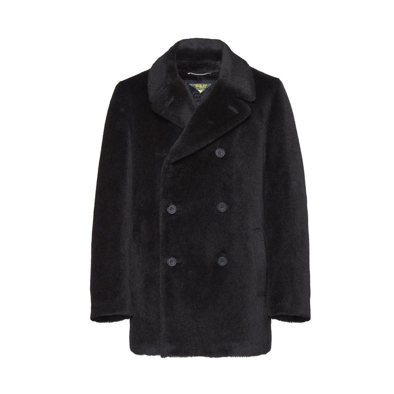 Midnight Blue Alpaca Fur-Fabric Peacoat