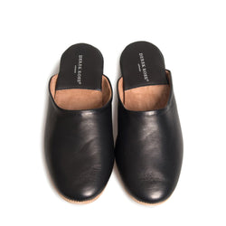 Morgan Black Calfskin Leather Open-Back Slipper