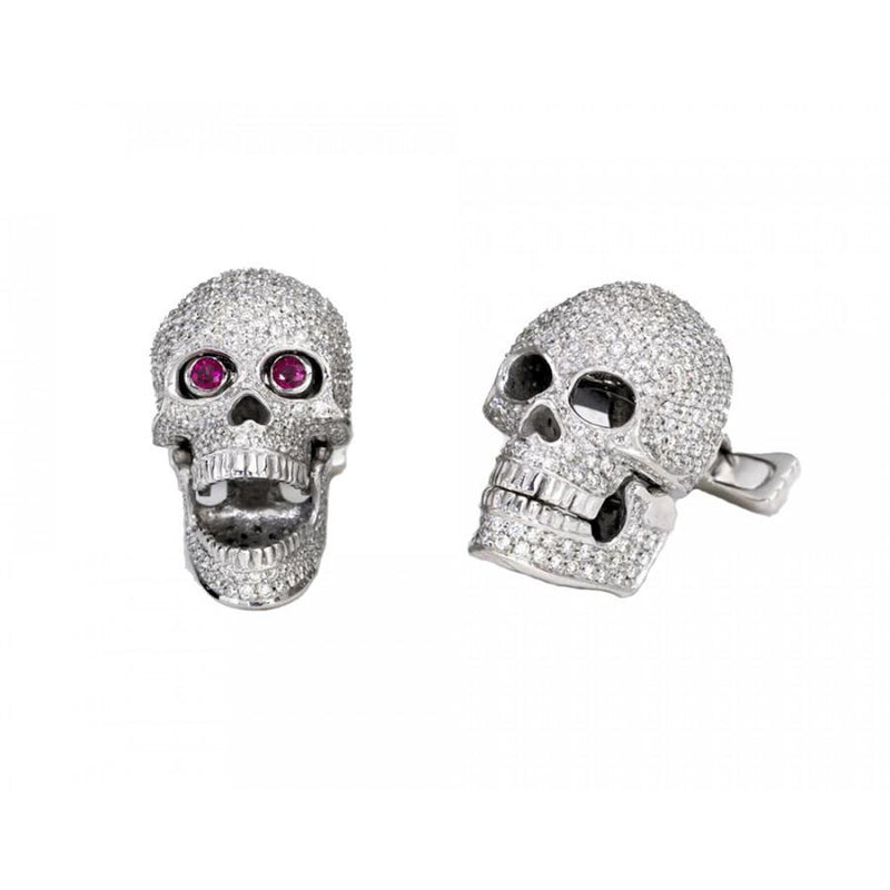 18ct White Gold Ruby Eyed Pave Diamond Skull Cufflinks