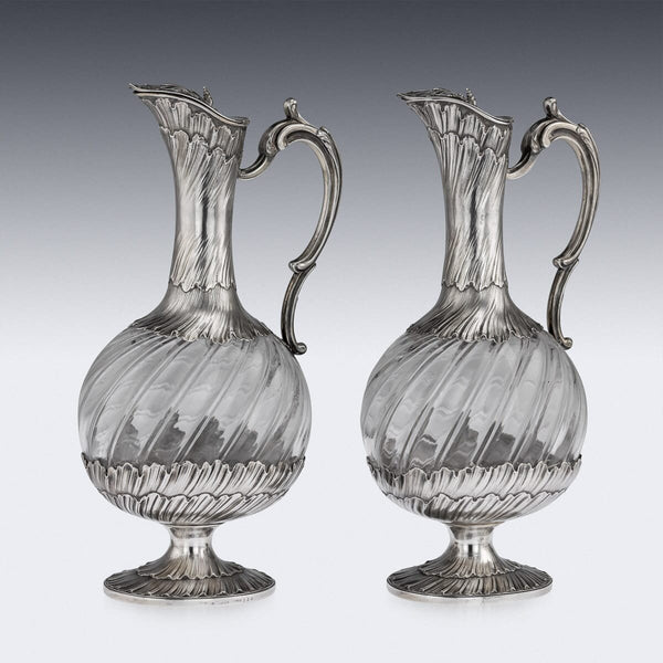 Solid Silver & Glass Pair Of Claret Jugs, Odiot c.1890