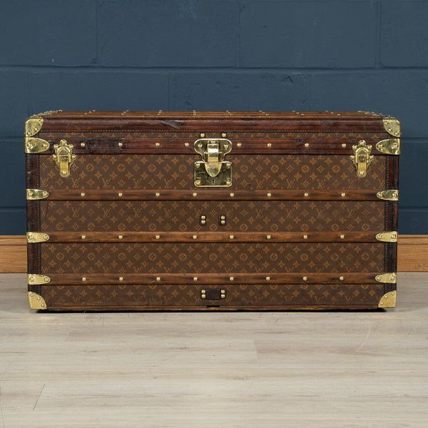 Antique Louis Vuitton Courier Trunk In Monogram Canvas, Paris C.1910