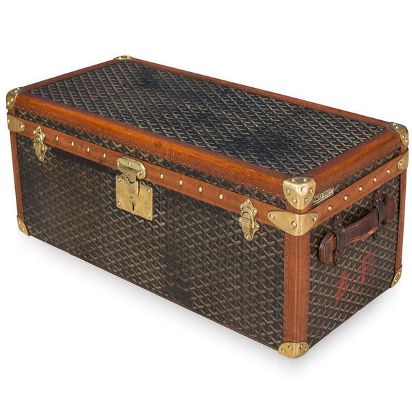 Antique Rare Goyard Chevron Canvas Shoe Trunk C.1900