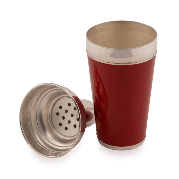 Red Enamelled on Silver Plate Cocktail Shaker, Asprey c.1980