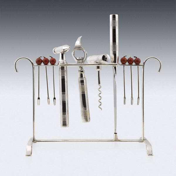 Silver Plated Barware Implements on Stand, Sheffield c.1930
