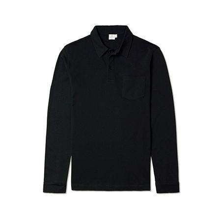Black Long Sleeve Riviera Polo Shirt