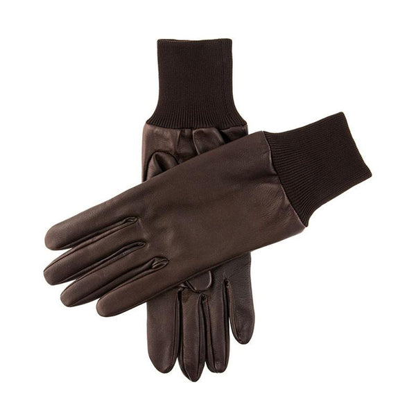 Brown Silk Lined Leather Shooting Gloves