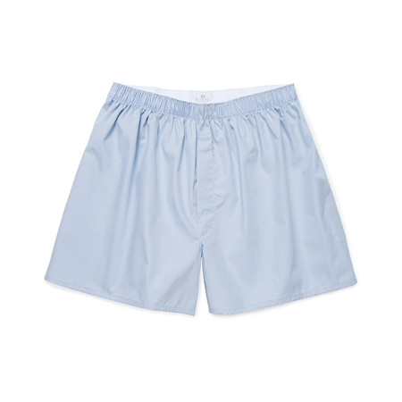 Plain Blue Cotton Poplin Boxer Shorts