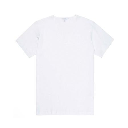White Cellular Cotton Low V-Neck T-Shirt