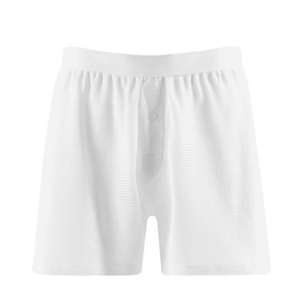 White Cellular Cotton One-Button Shorts