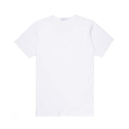 White Superfine Cotton Low V-Neck T-Shirt