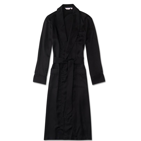 Woburn 8 Black Pure Silk Satin Stripe Dressing Gown