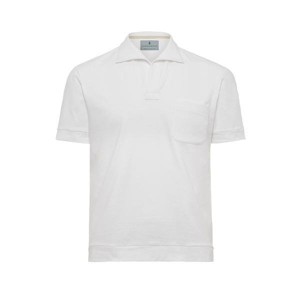 White Solid Comber Polo Shirt