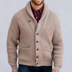 Dark Natural Windsor Shawl Collar Cardigan