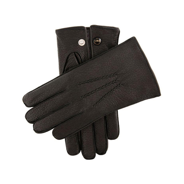 Black Fur Lined Deerskin Leather Gloves