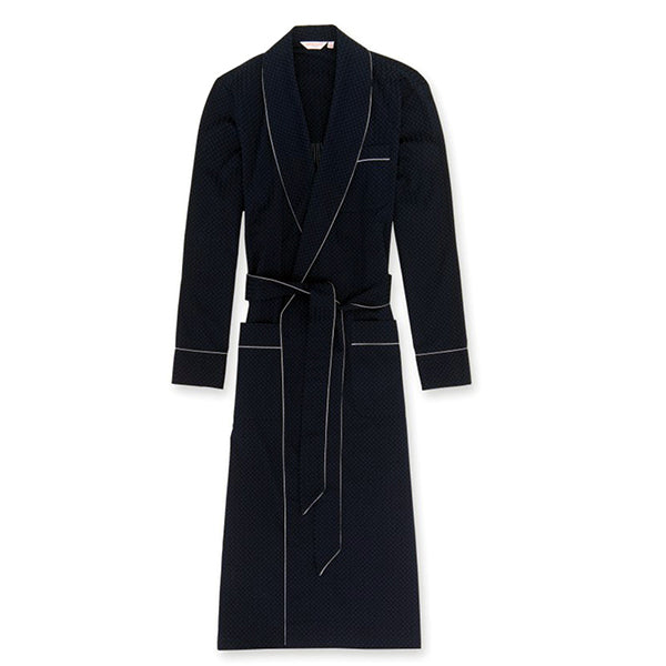 Royal 40 Navy Cotton Satin Stripe Dressing Gown