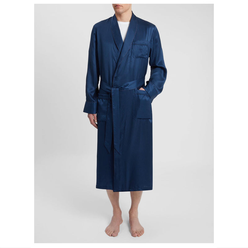Woburn 8 Navy Pure Silk Satin Stripe Dressing Gown