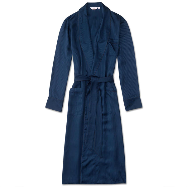 Lingfield Navy Satin Stripe Dressing Gown