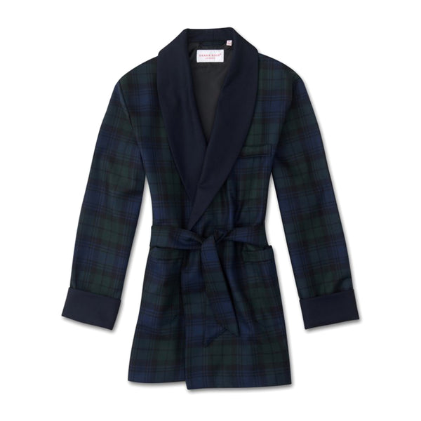Tartan Black Watch Wool Smoking Jacket