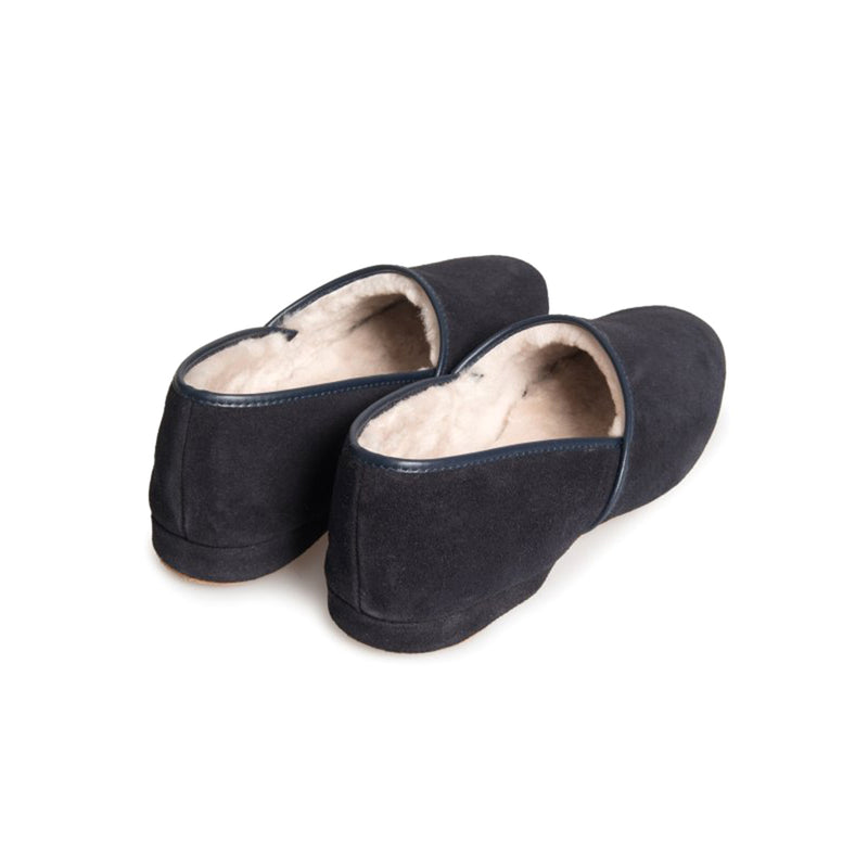 Crawford Navy Suede Sheepskin Closed-Back Slipper