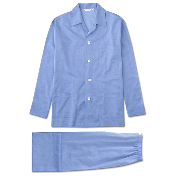 Amalfi Blue Cotton Batiste Classic Fit Pyjamas