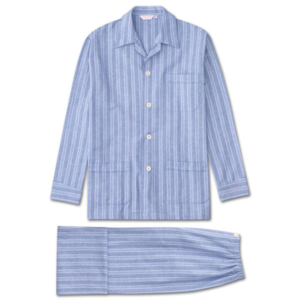 Arran 20 Blue Stripe Brushed Cotton Classic Fit Pyjamas