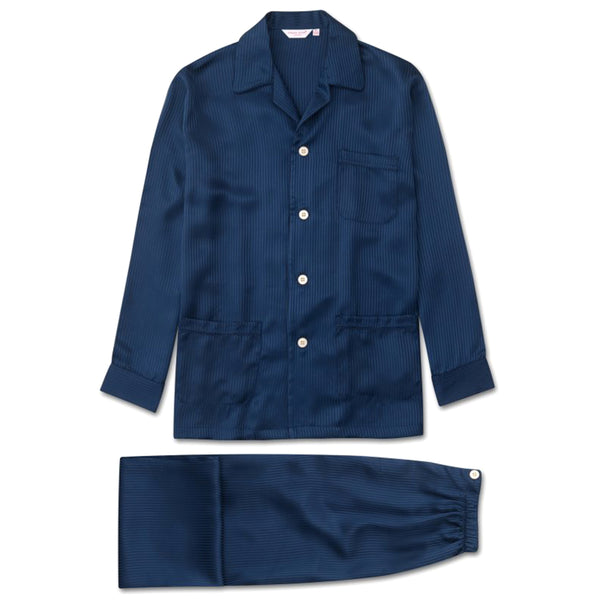 Woburn 8 Navy Pure Silk Piped Classic Fit Pyjamas